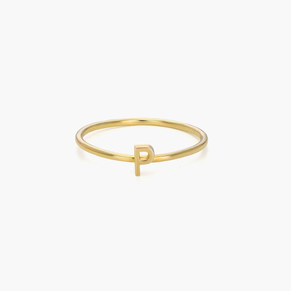 Stackable Inez Initial Ring - 14K Solid Gold