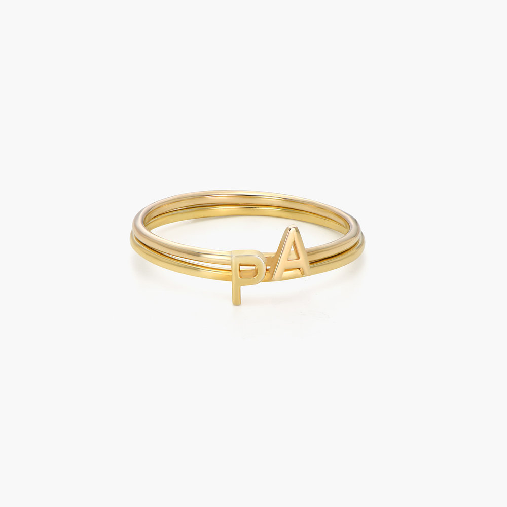 Stackable Inez Initial Ring - 14K Solid Gold - 1