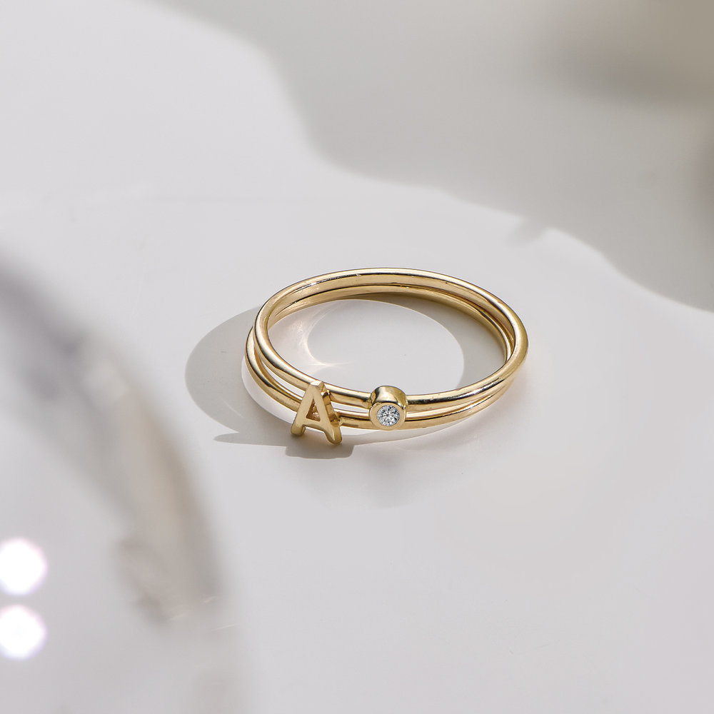 Stackable Inez Initial Ring - 14K Solid Gold - 2