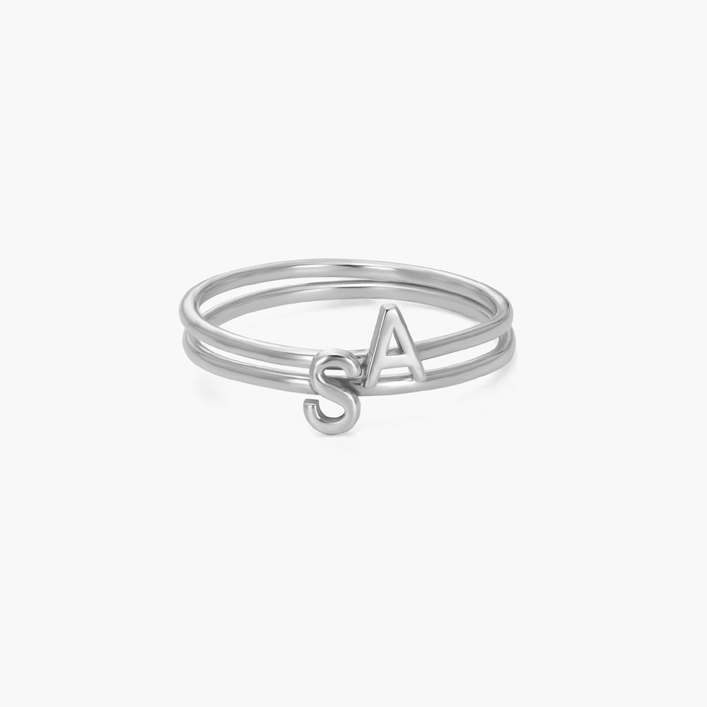 Stackable Inez Initial Ring - Silver