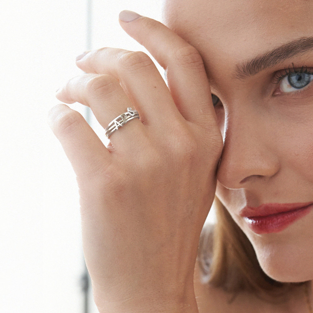 Stackable Inez Initial Ring - Silver - 3