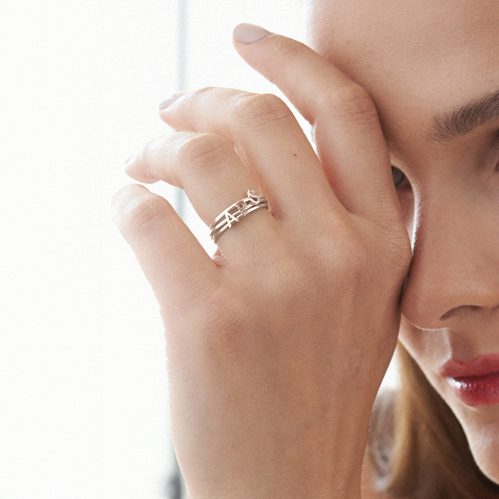 Stackable Inez Initial Ring - Rose Gold Plated - 4