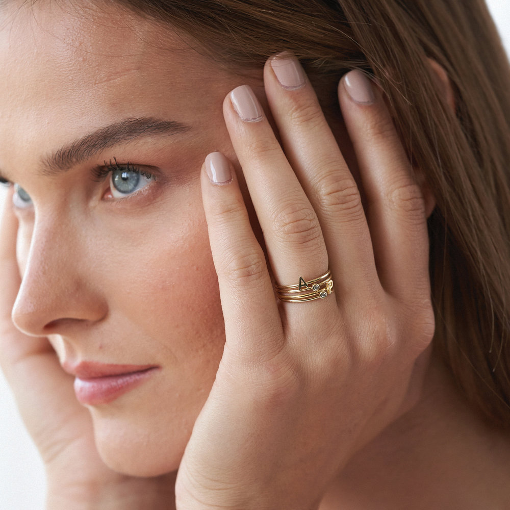 Stackable Inez Initial Ring - Gold Vermeil - 4
