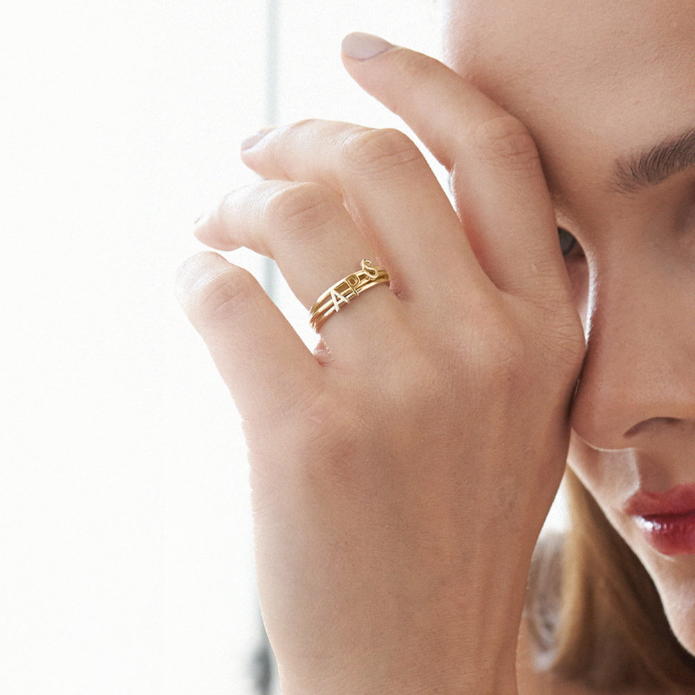 Stackable Inez Initial Ring - Gold Vermeil - 5