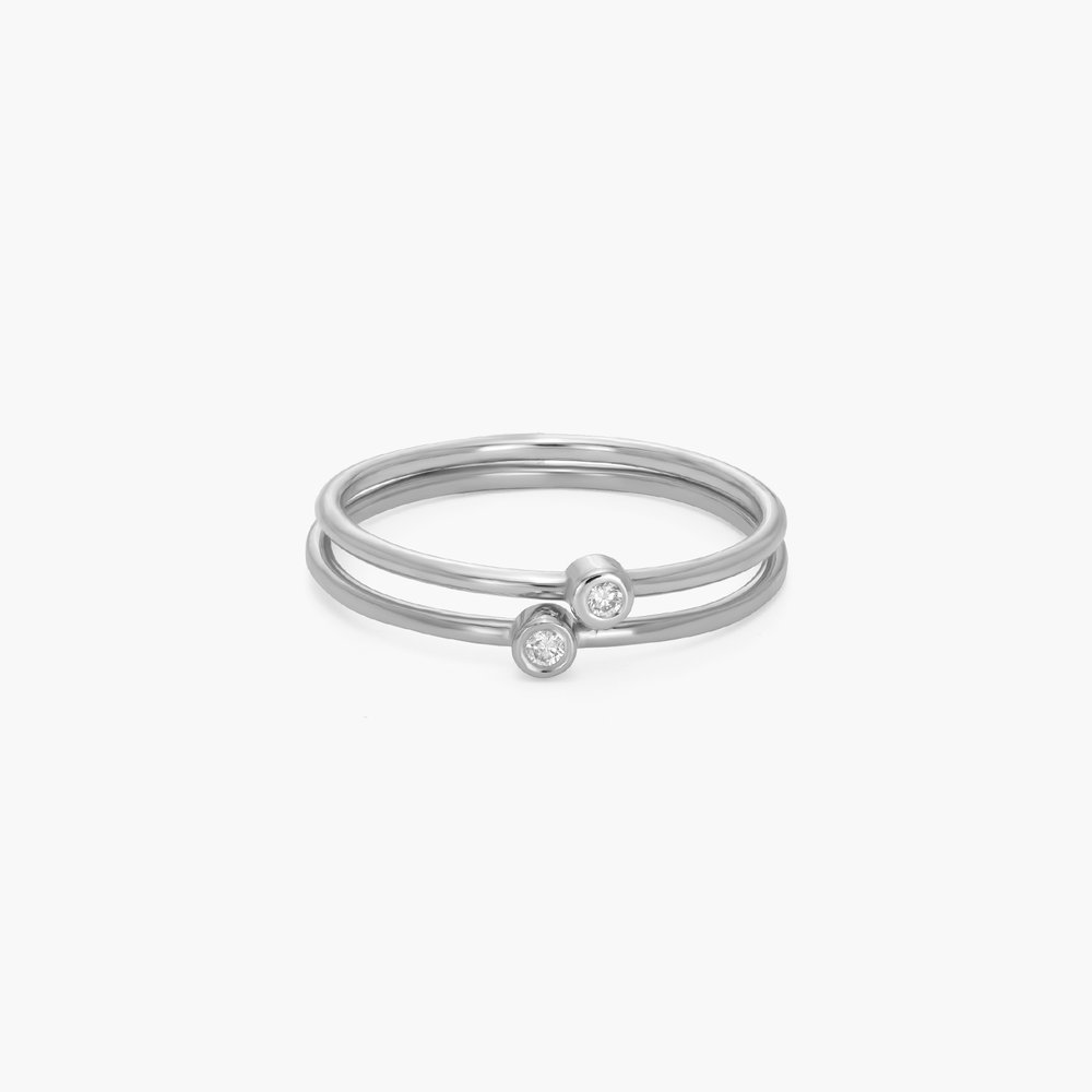 Mona Stackable Ring with Diamond - Silver