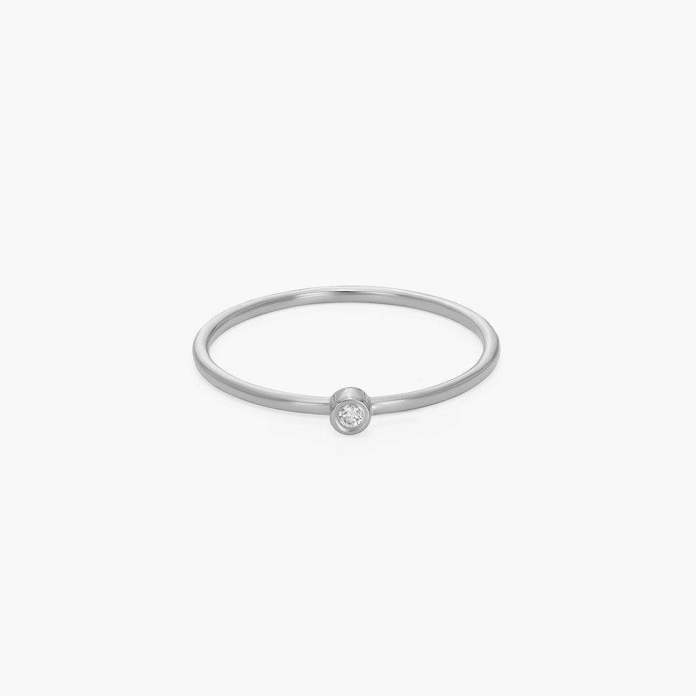Mona Stackable Ring with Diamond - Silver - 1