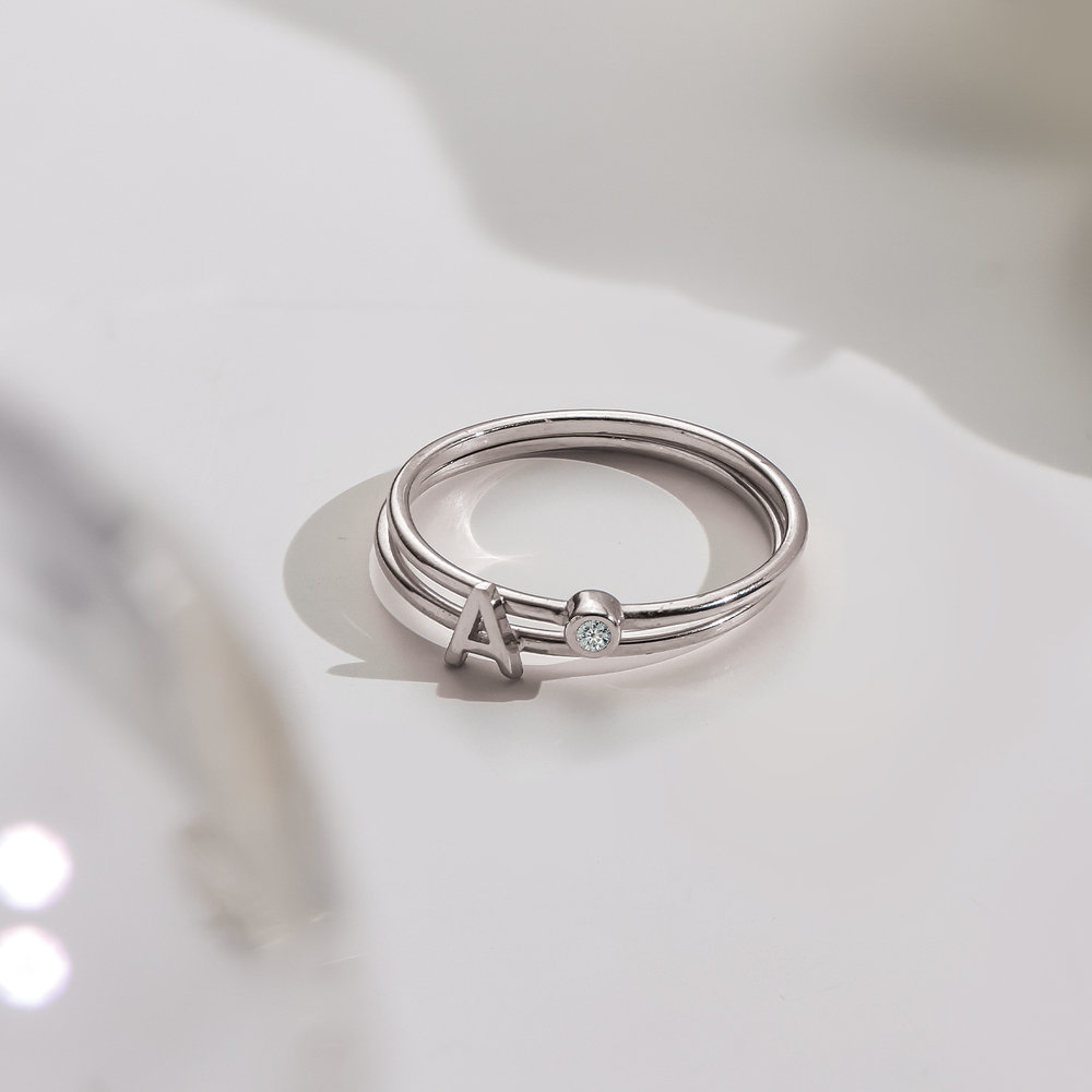 Mona Stackable Ring with Diamond - Silver - 2
