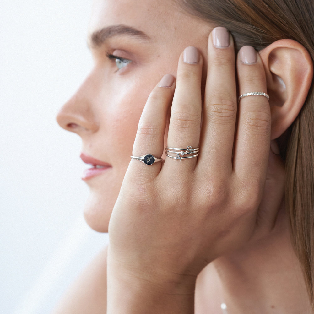 Mona Stackable Ring with Diamond - Silver - 4