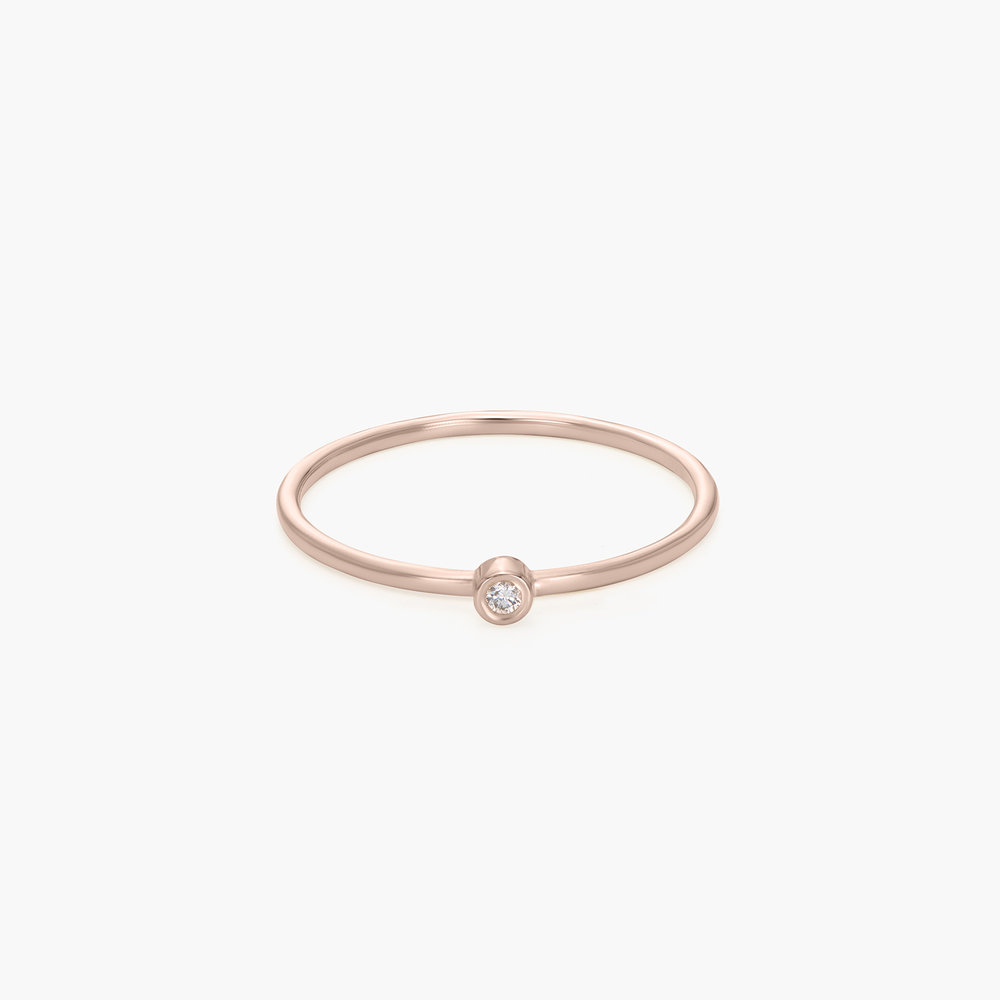 Mona Stackable Ring with Diamond - Rose Gold Plated