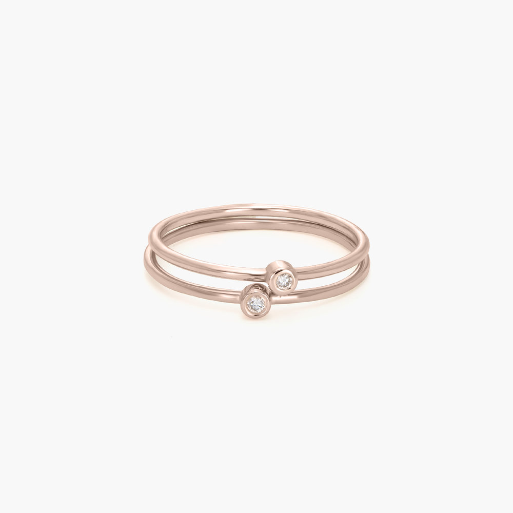 Mona Stackable Ring with Diamond - Rose Gold Plated - 1