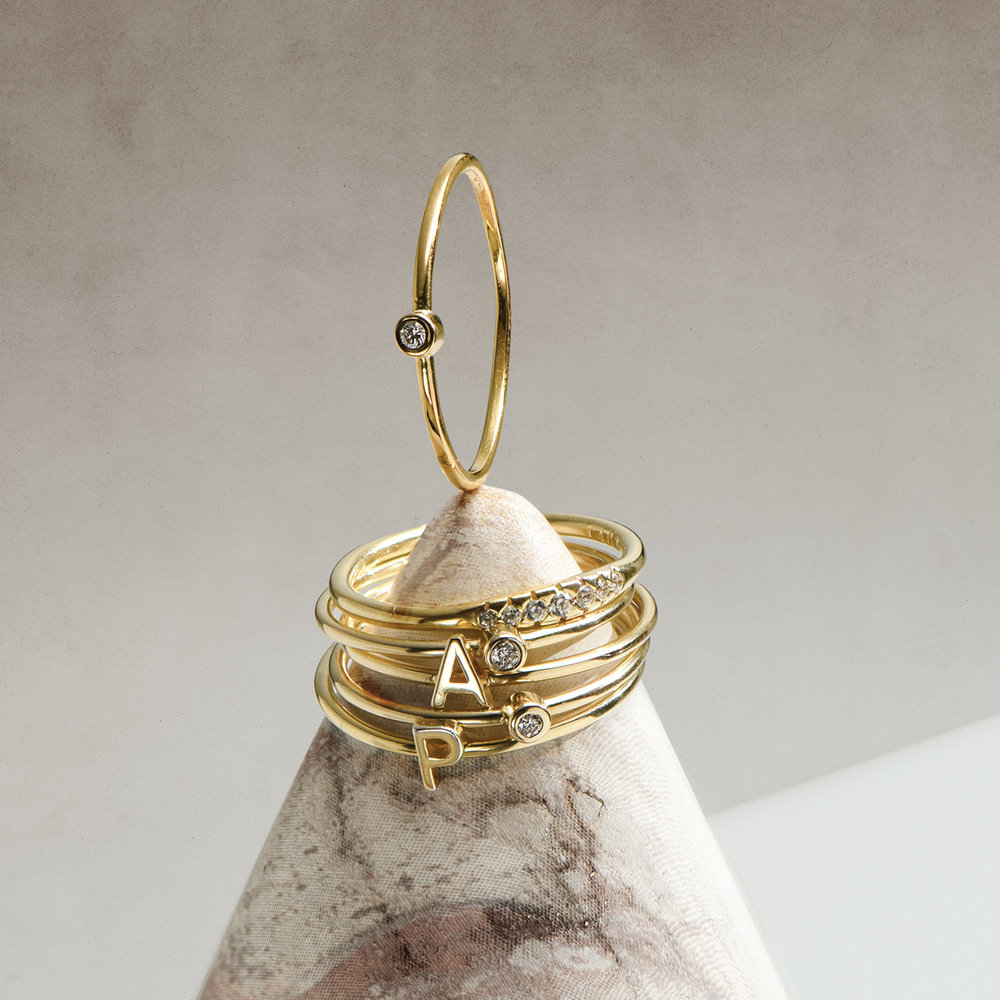 Mona Stackable Ring with Diamond - Gold Vermeil - 2