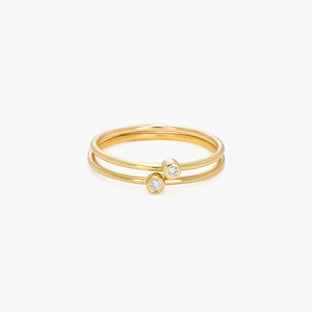 Mona Stackable Ring with Diamond - 14K Gold