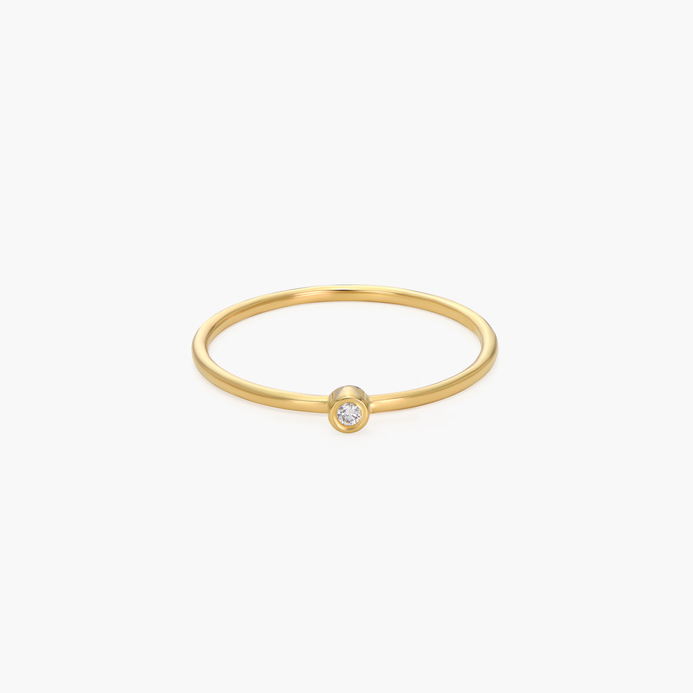 Mona Stackable Ring with Diamond - 14K Solid Gold - 1
