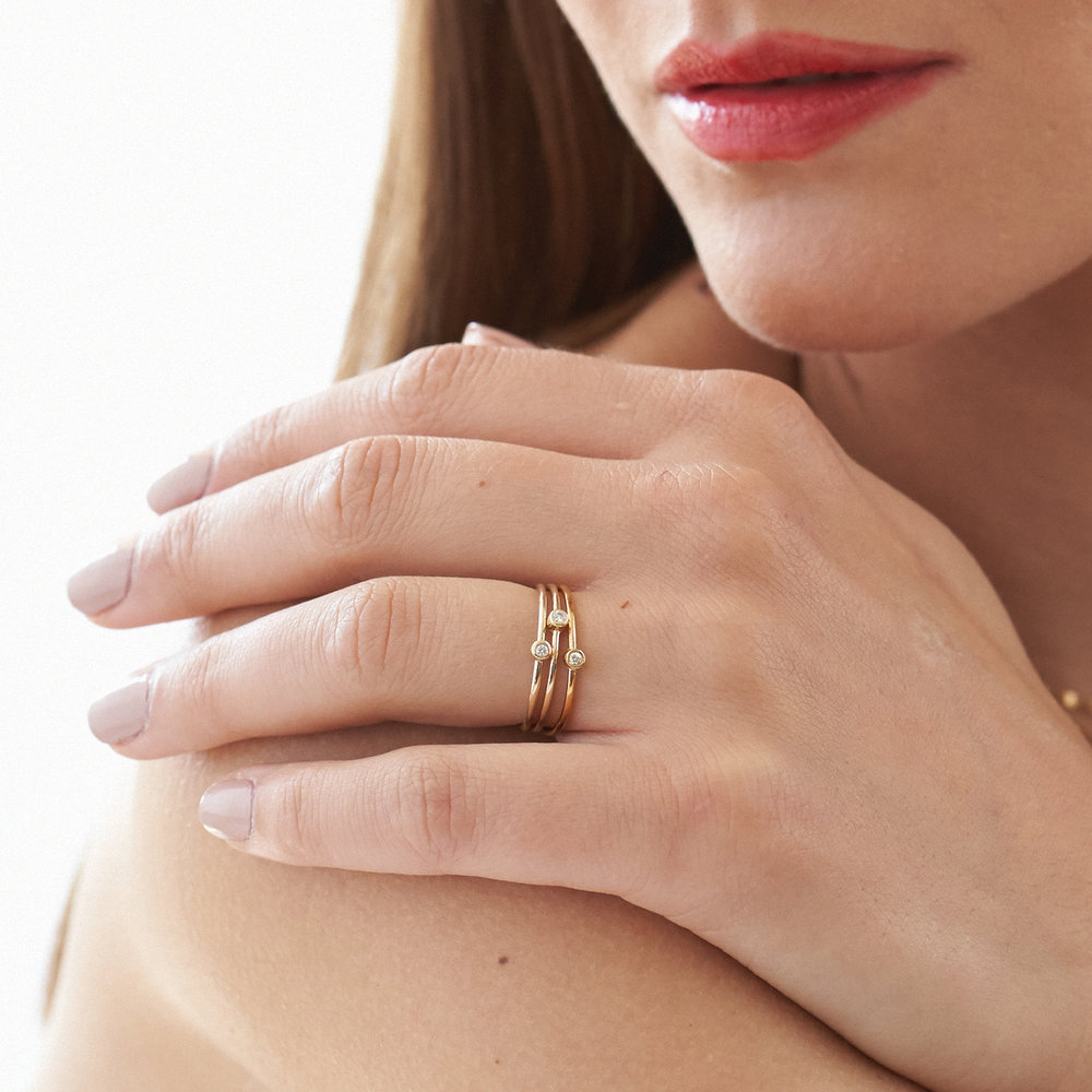 Mona Stackable Ring with Diamond - 14K Solid Gold - 4