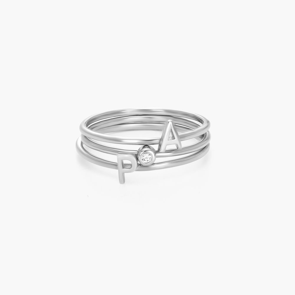 Inez Initial Ring and Diamond Ring Set - Silver