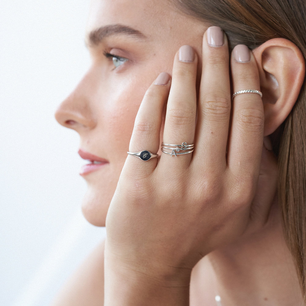 Inez Initial Ring and Diamond Ring Set - Silver - 3