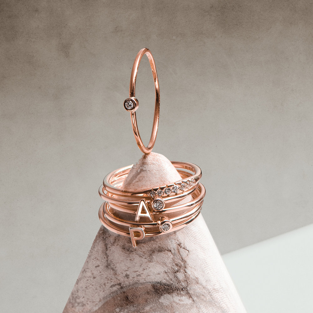 Inez Initial Ring and Diamond Ring Set - Rose Gold Plated - 1