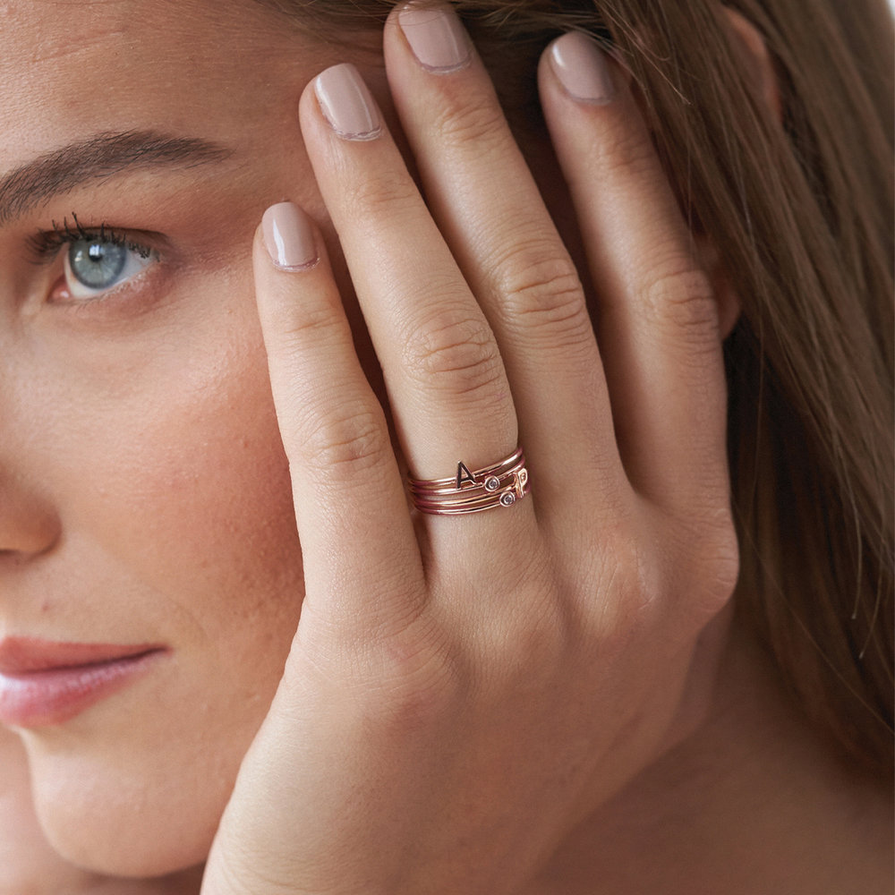 Inez Initial Ring and Diamond Ring Set - Rose Gold Plated - 3