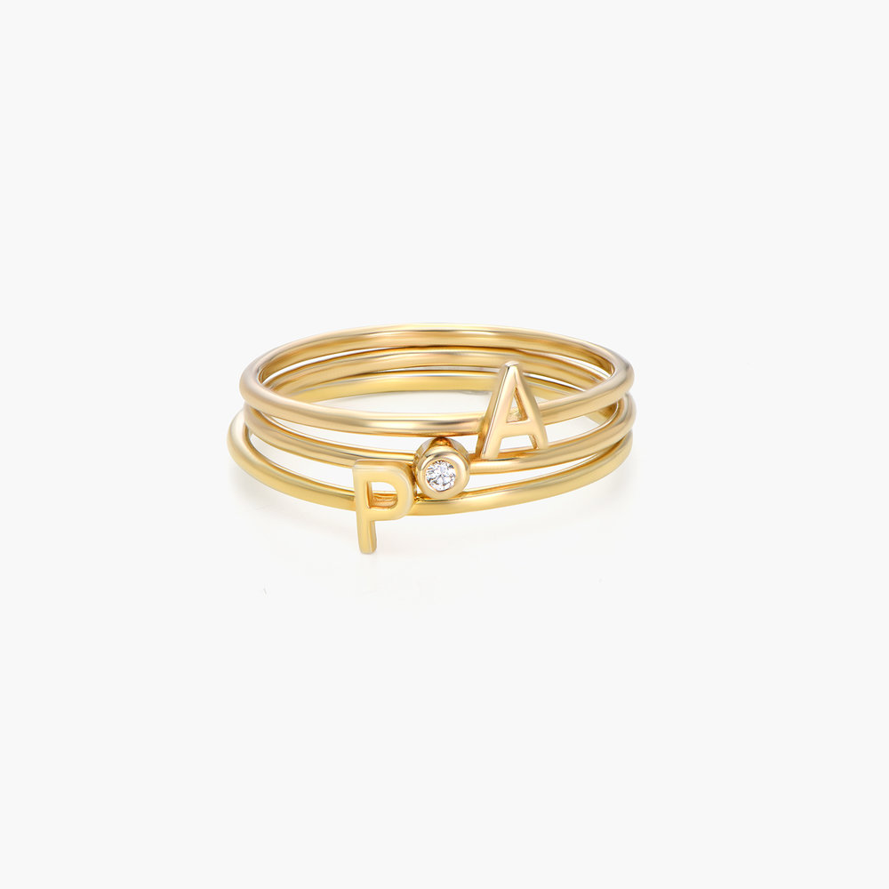 Inez Initial Ring and Diamond Ring Set - 14K Solid Gold