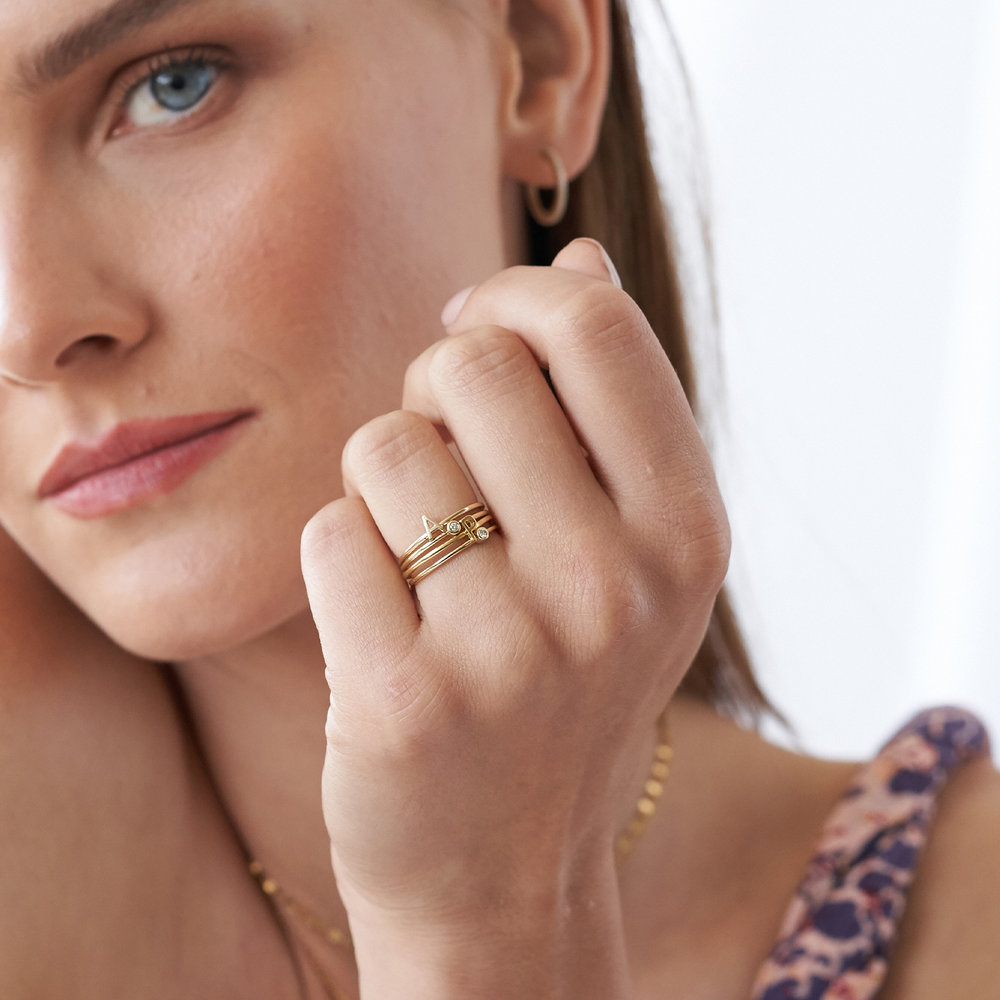 Inez Initial Ring and Diamond Ring Set - 14K Solid Gold - 2