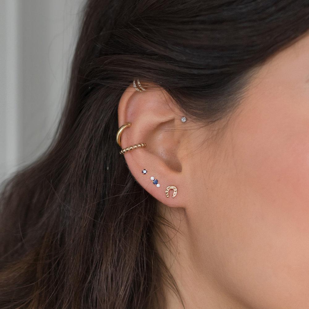 Black Sapphire Stud Earrings - 14K Gold - 2