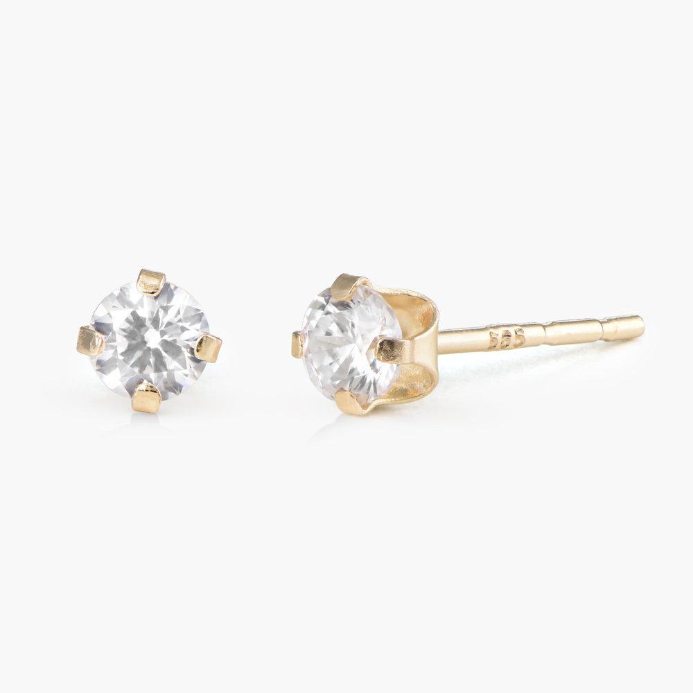 Cubic Zirconia Stud Earrings - 14K Gold