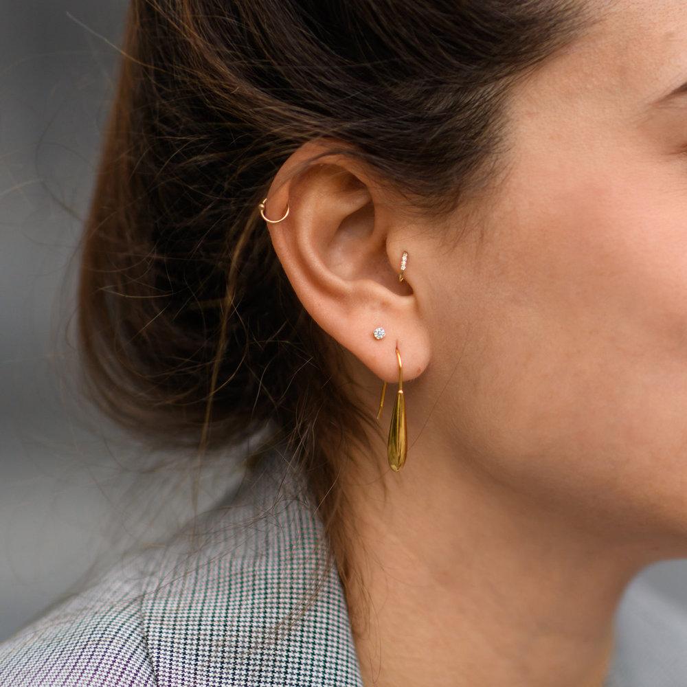 Cubic Zirconia Stud Earrings - 14K Gold - 1