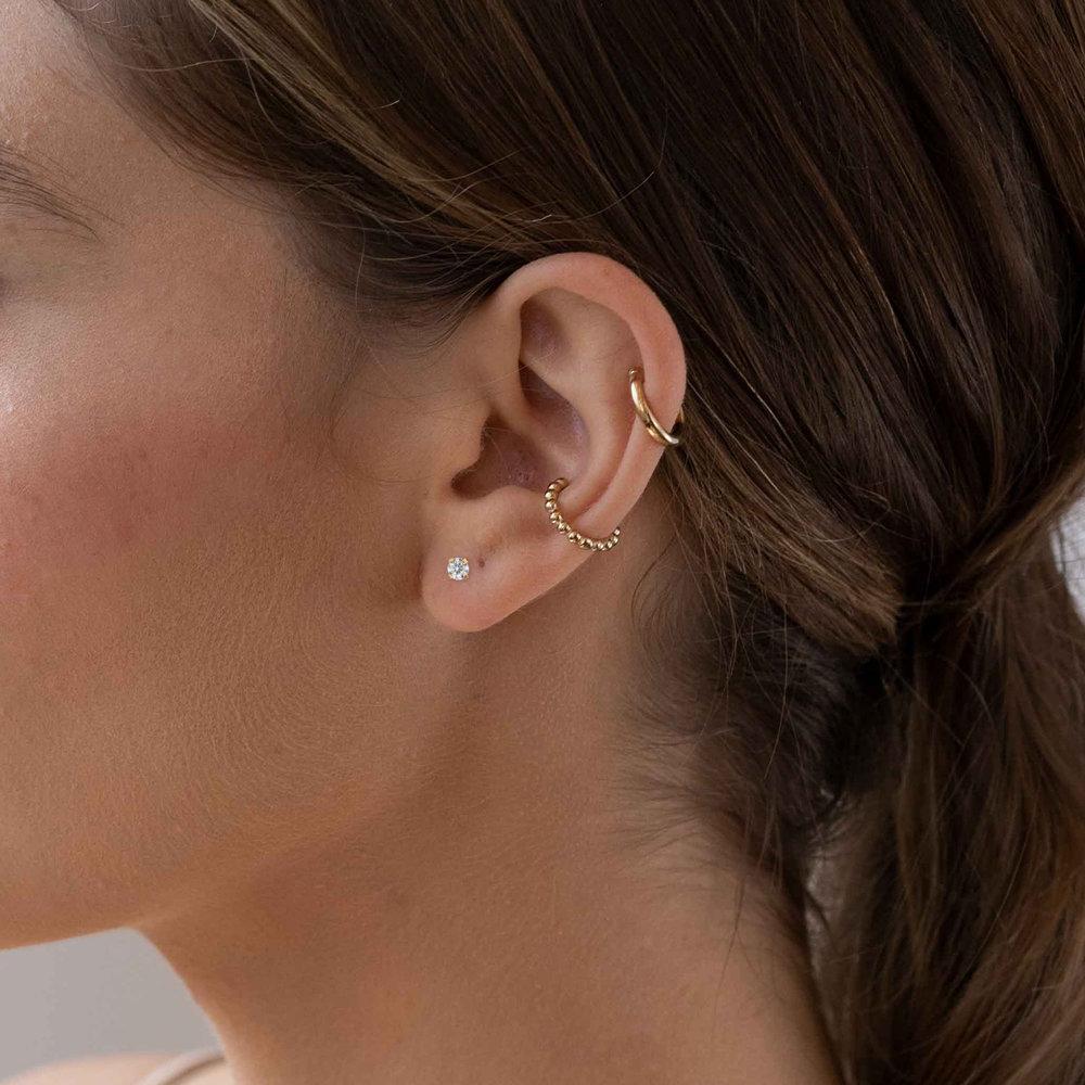 Cubic Zirconia Stud Earrings - 14K Gold - 3