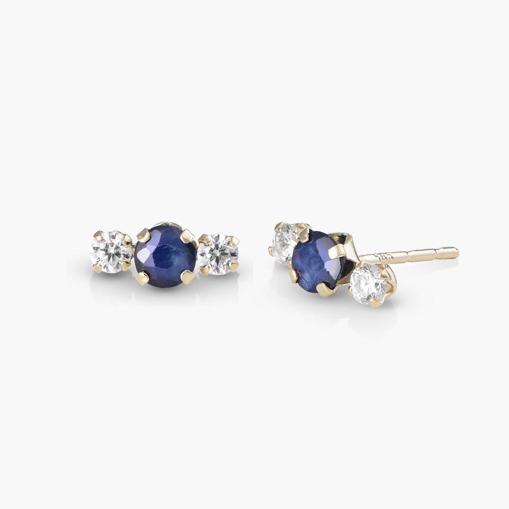 Blue Sapphire Stud Earrings with Cubic Zirconia
