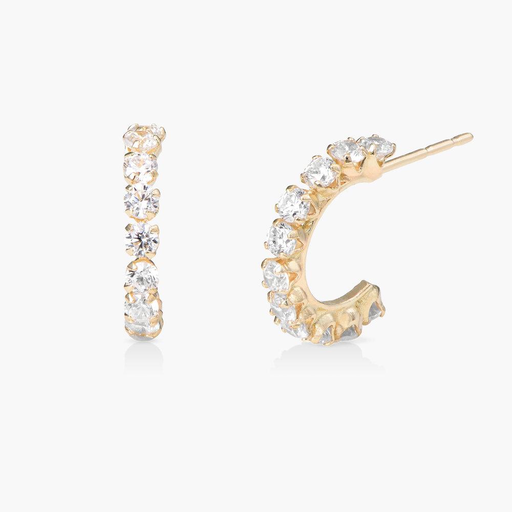 Cubic Zirconia Hoop Earrings - 14K Gold