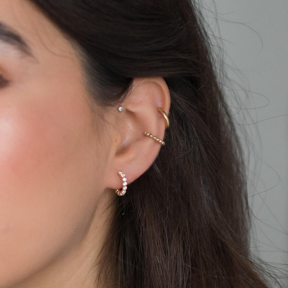 Cubic Zirconia Hoop Earrings - 14K Gold - 2