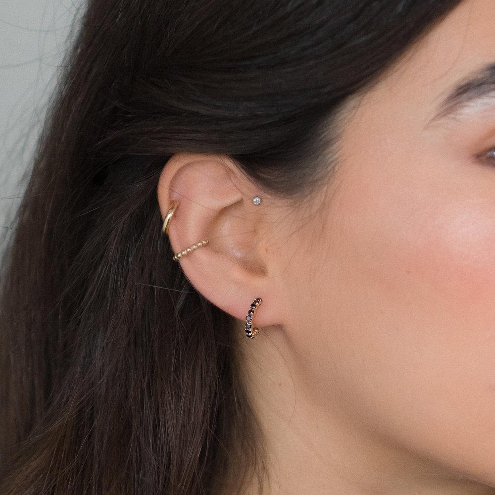 Black Sapphire Hoop Earrings - 14K Gold - 2