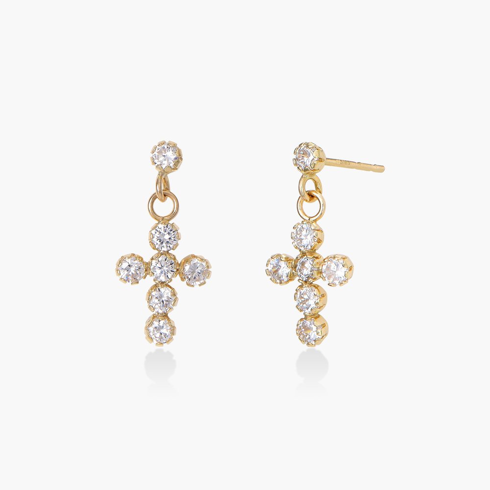 Cubic Zirconia Cross Earrings - 14K Gold