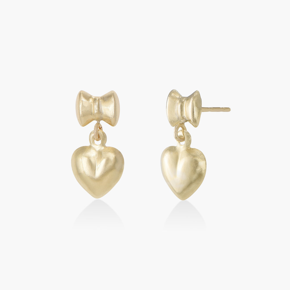 Bow and Heart Earrings - 14K Solid Gold