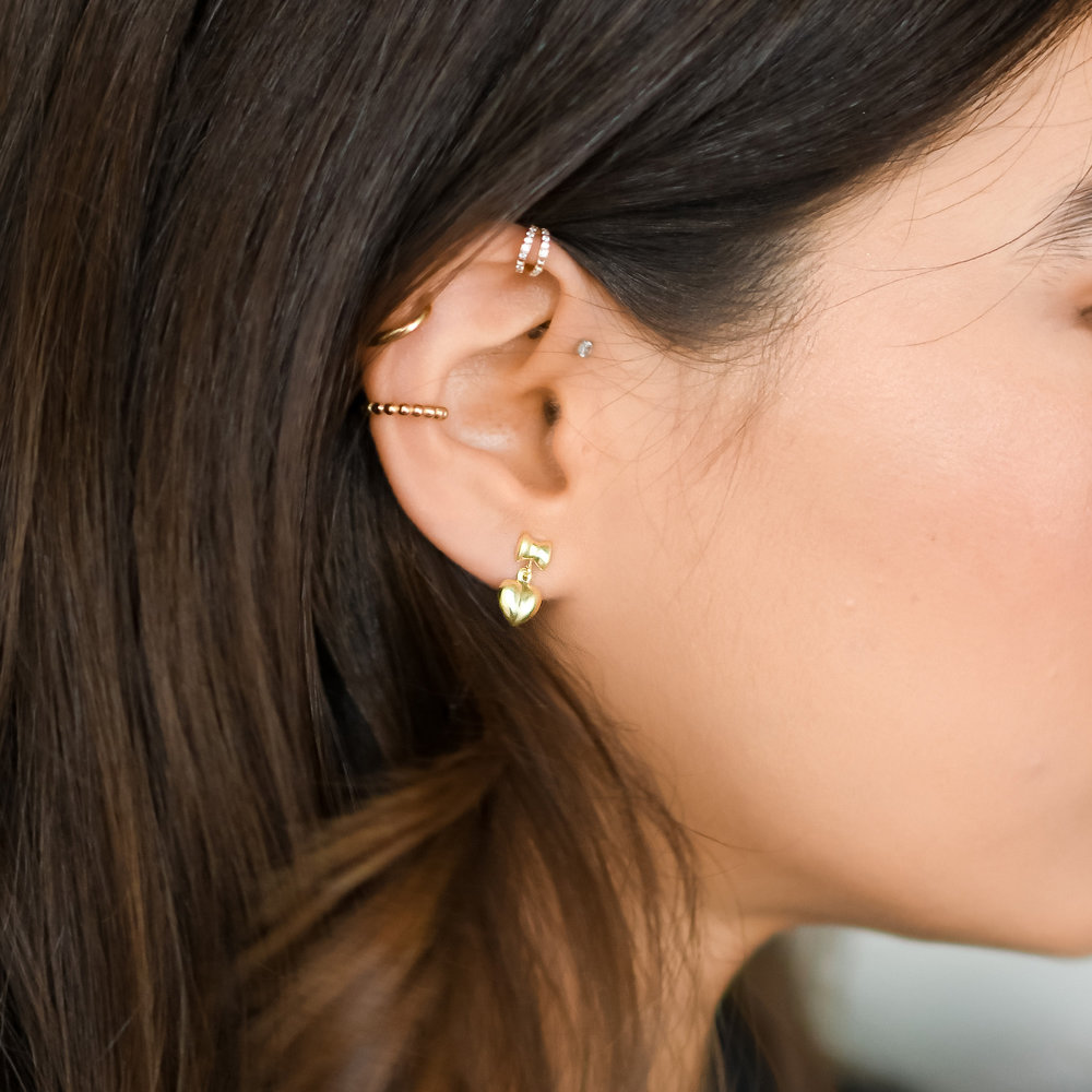 Bow and Heart Earrings - 14K Solid Gold - 2