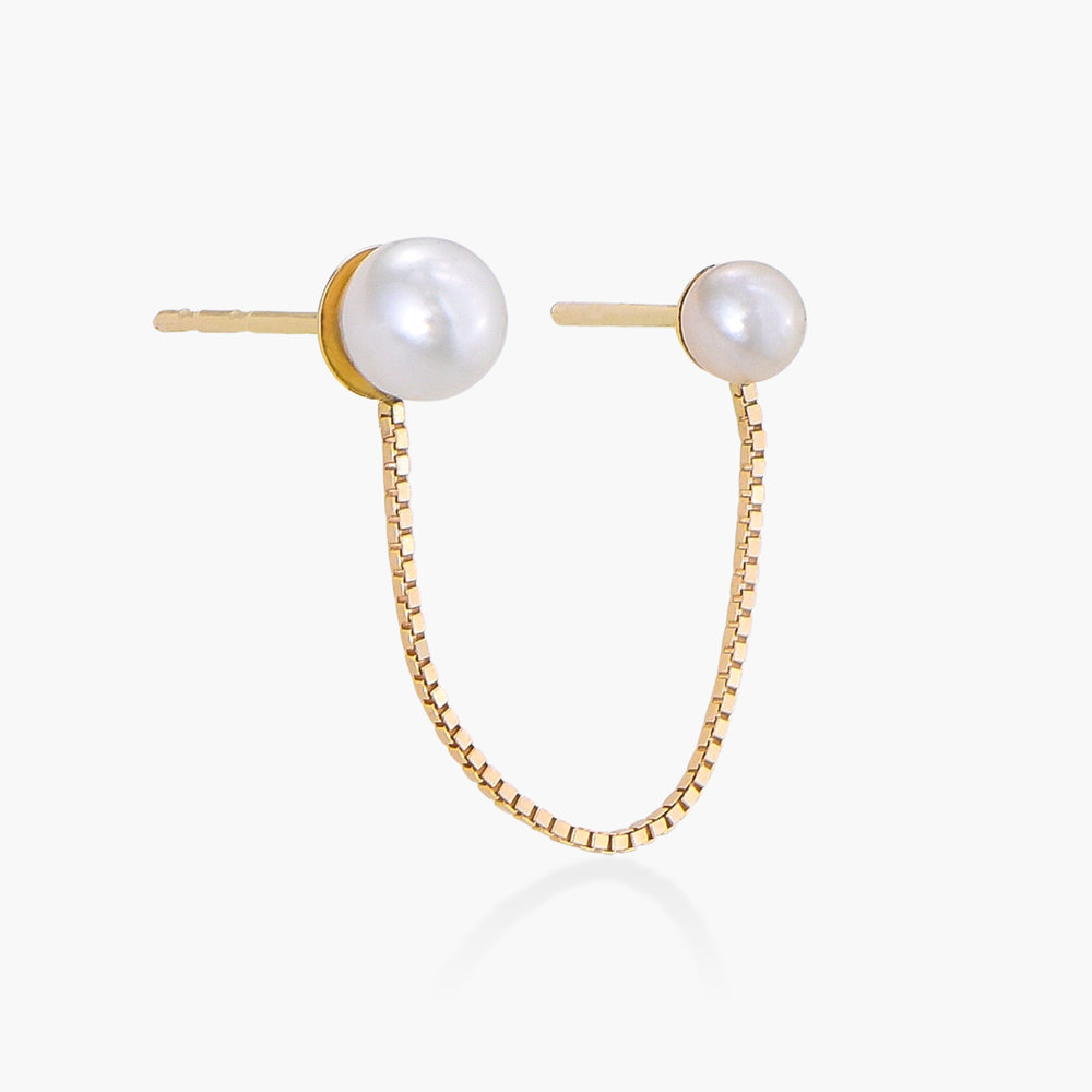 Double Piercing Chain Earrings with Pearls - 14K Gold