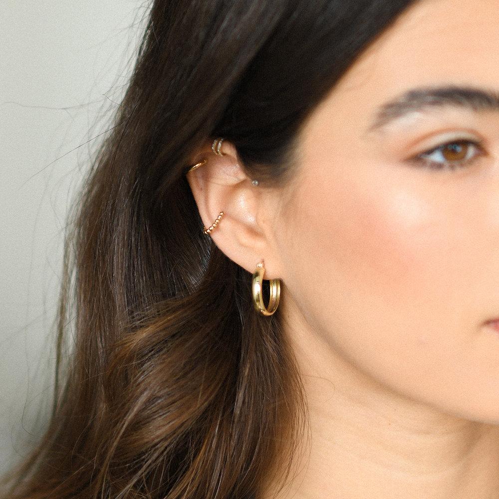 Dainty Hoop Earrings - 10K Gold - 2