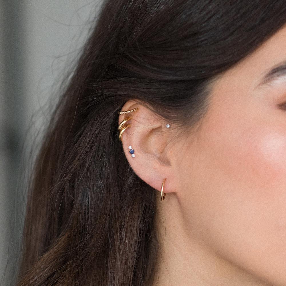 Huggie Hoop Earrings - 10K Gold - 2