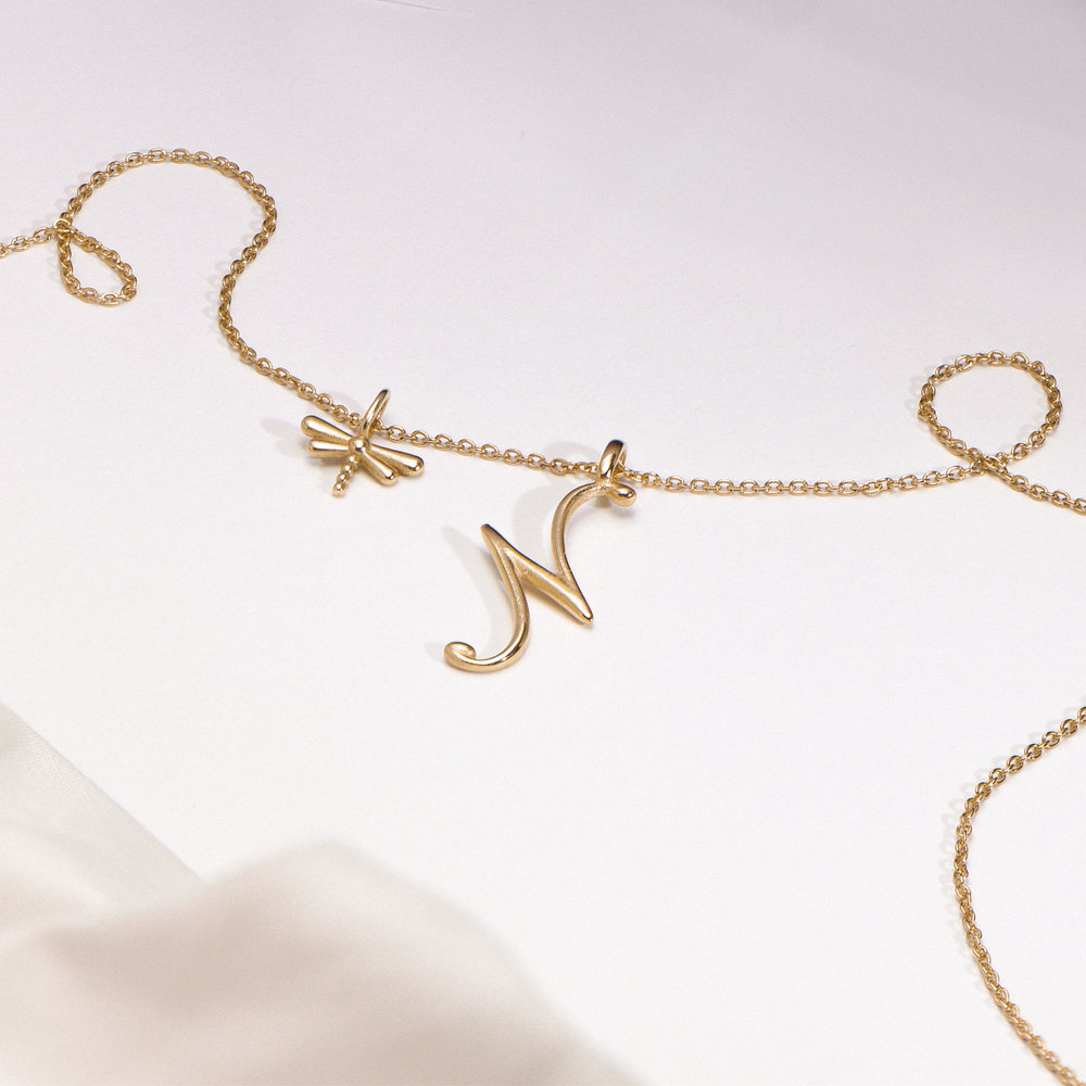 Dragonfly Charm - 14K Yellow Gold - 1