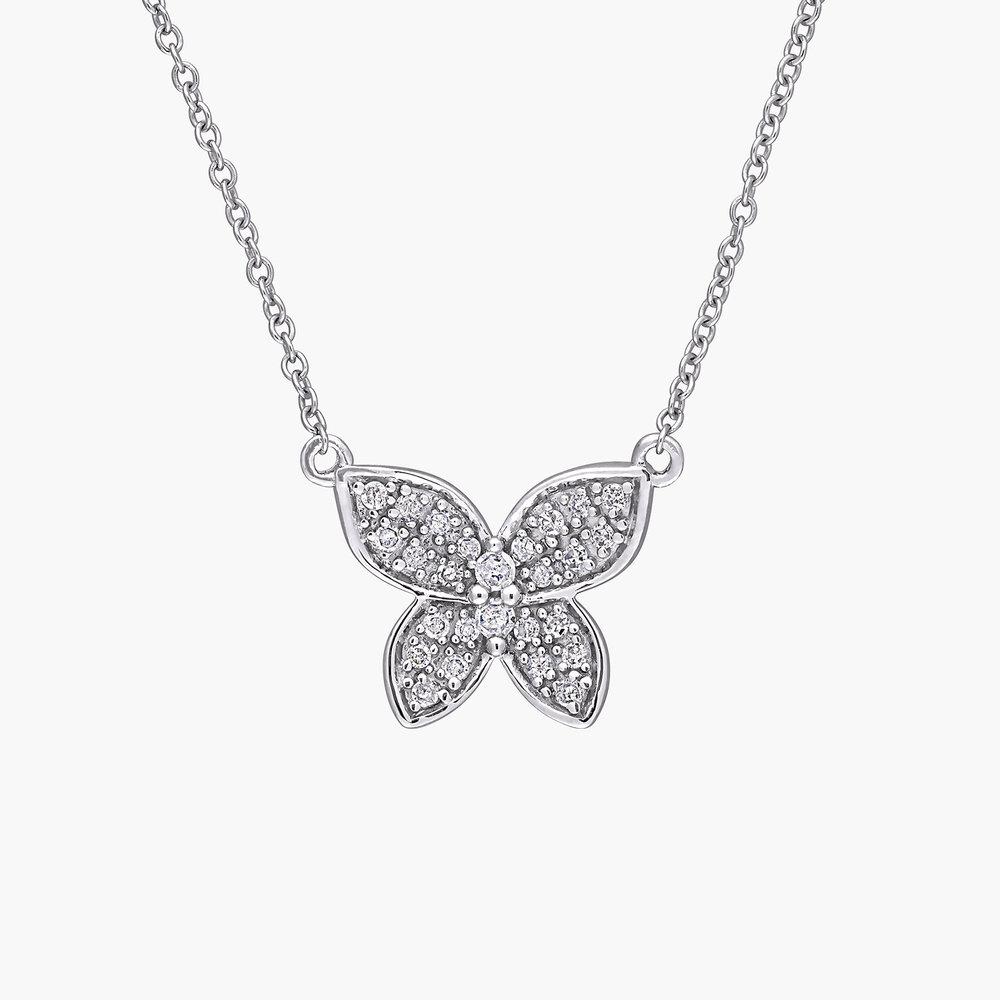 Aurora Diamond Butterfly Necklace - 10K White Gold
