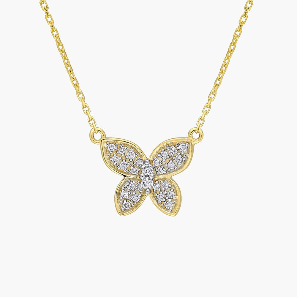 Aurora Diamond Butterfly Necklace - 10K Yellow Gold