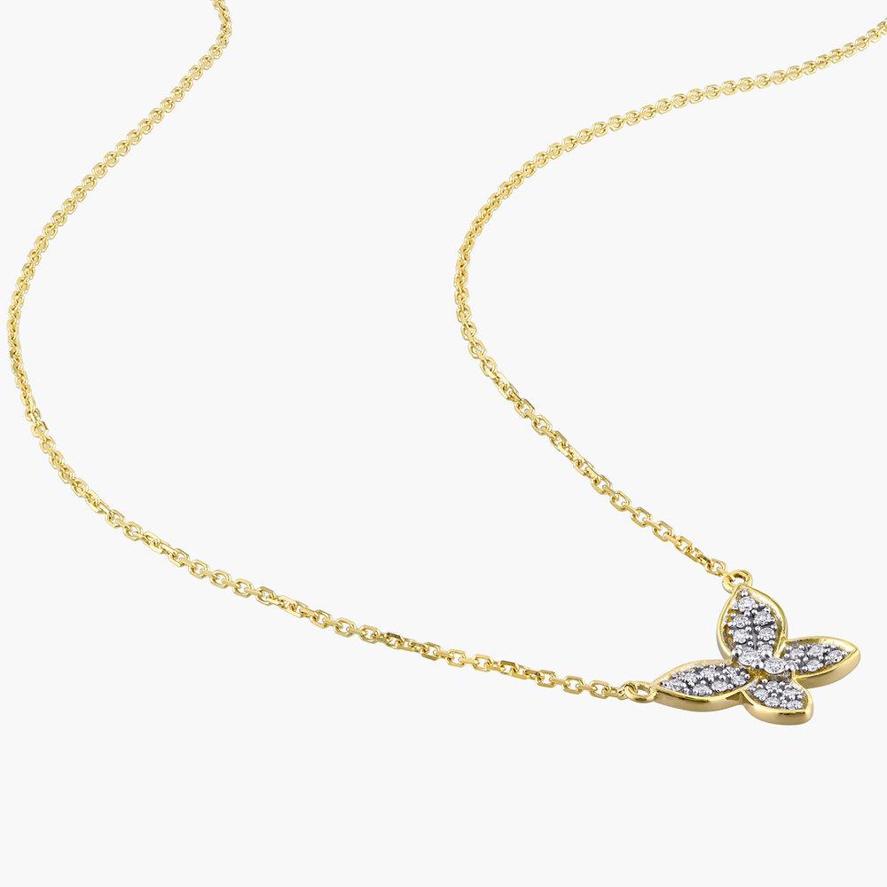 Aurora Diamond Butterfly Necklace - 10K Yellow Gold - 1