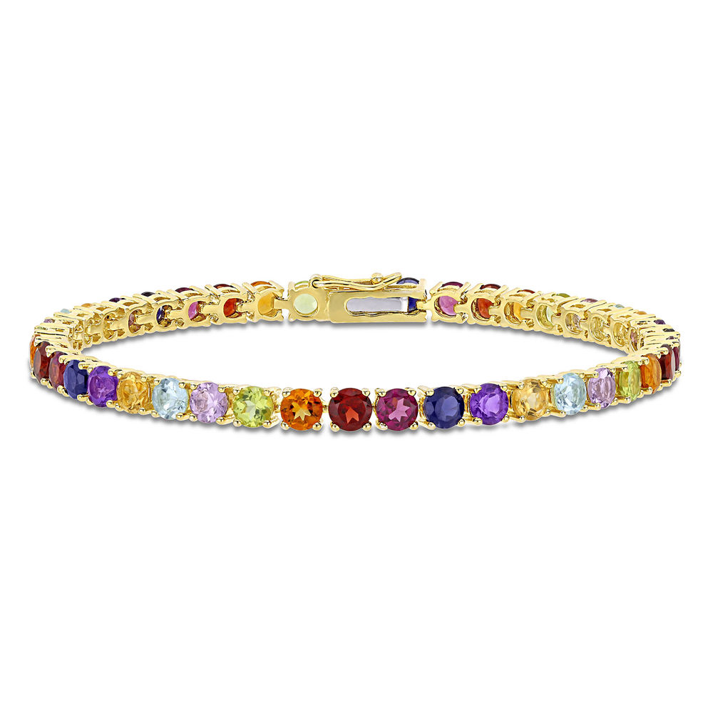 Multi-Gemstone Tennis Bracelet - Gold Plated