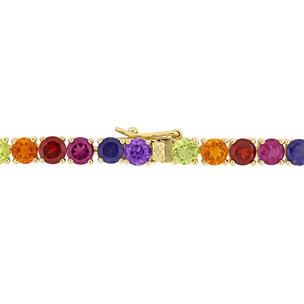 Multi-Gemstone Tennis Bracelet - Gold Plated - 1