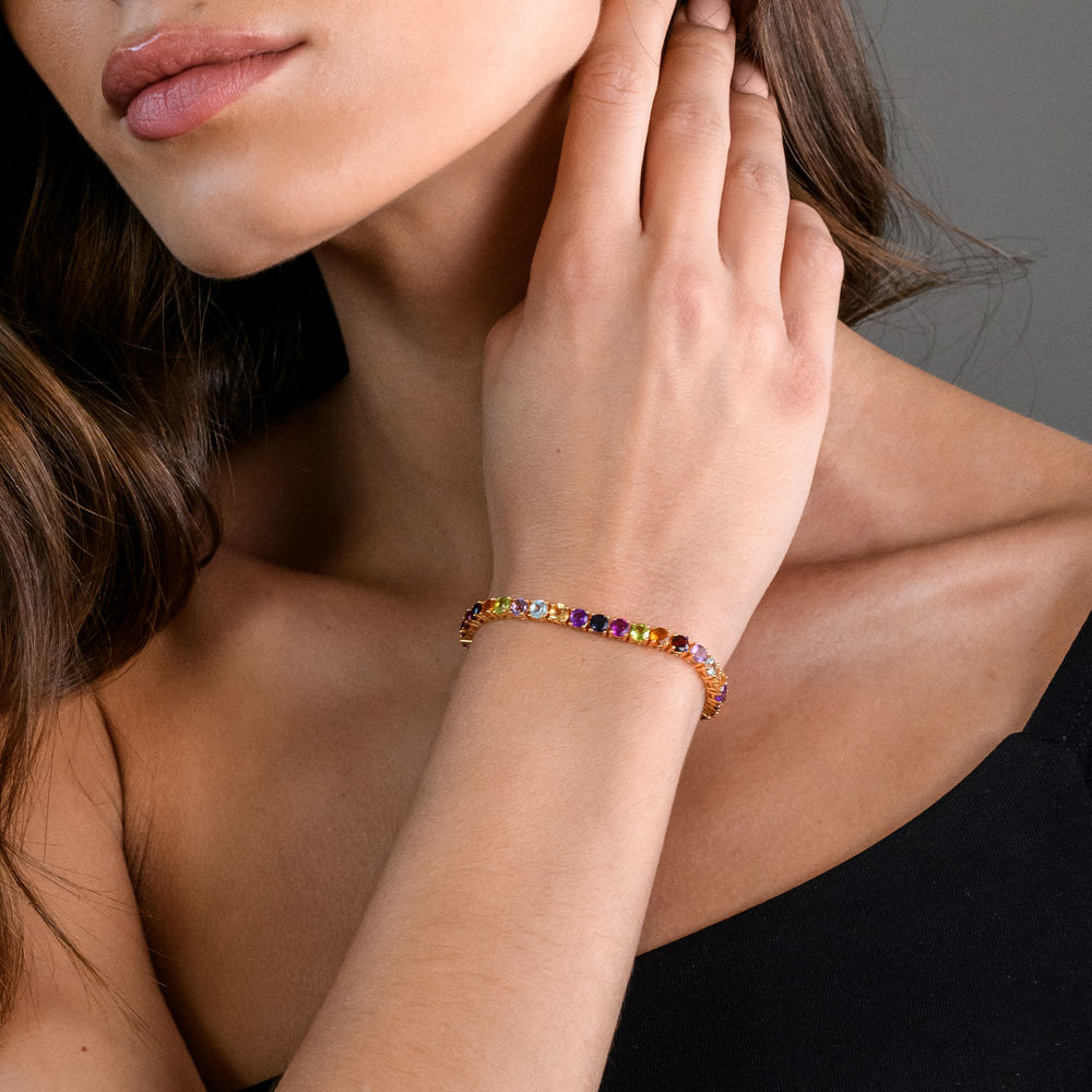 Multi-Gemstone Tennis Bracelet - Gold Plated - 3