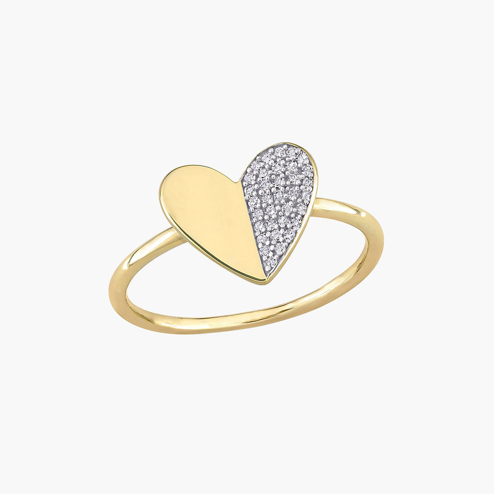 Eloise Diamond Heart Ring - 10K Yellow Gold