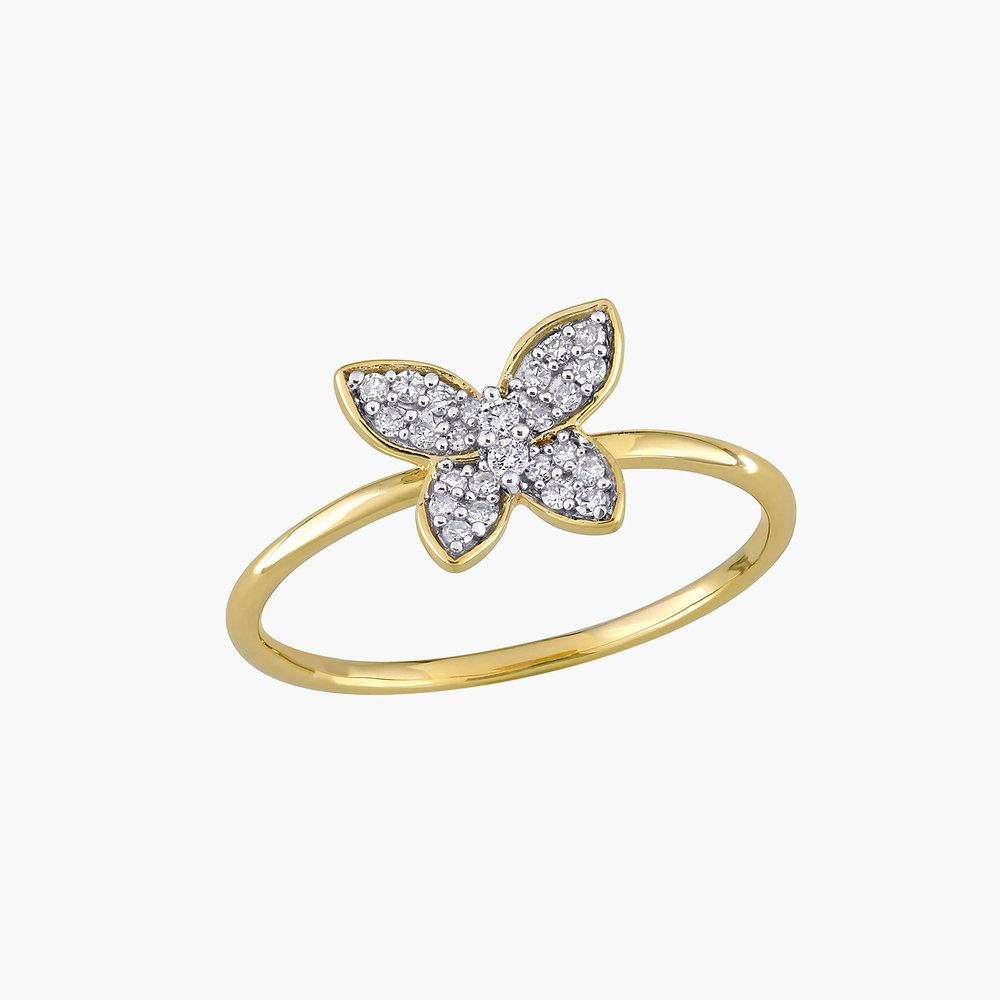 Aurora Diamond Butterfly Ring - 10K Yellow Gold