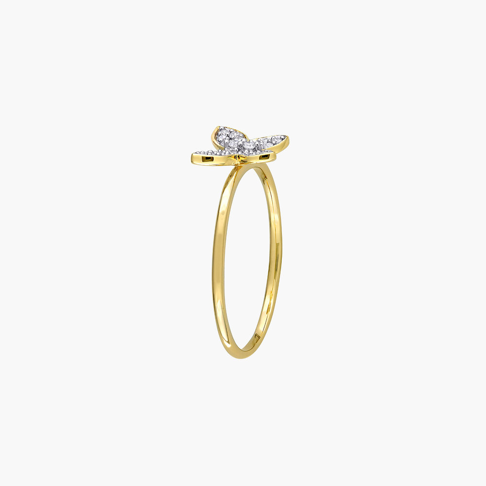Aurora Diamond Butterfly Ring - 10K Yellow Gold - 1