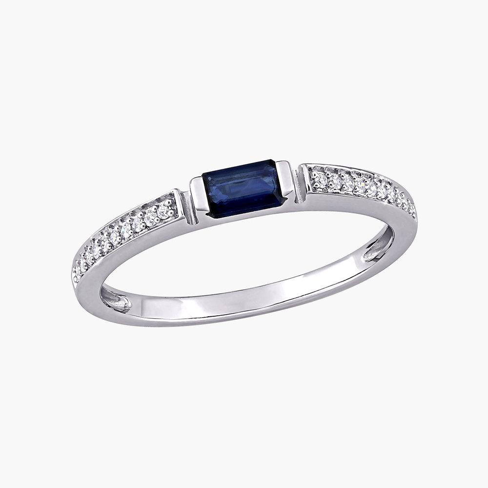 Diamond and Sapphire Ring - 10K White Gold