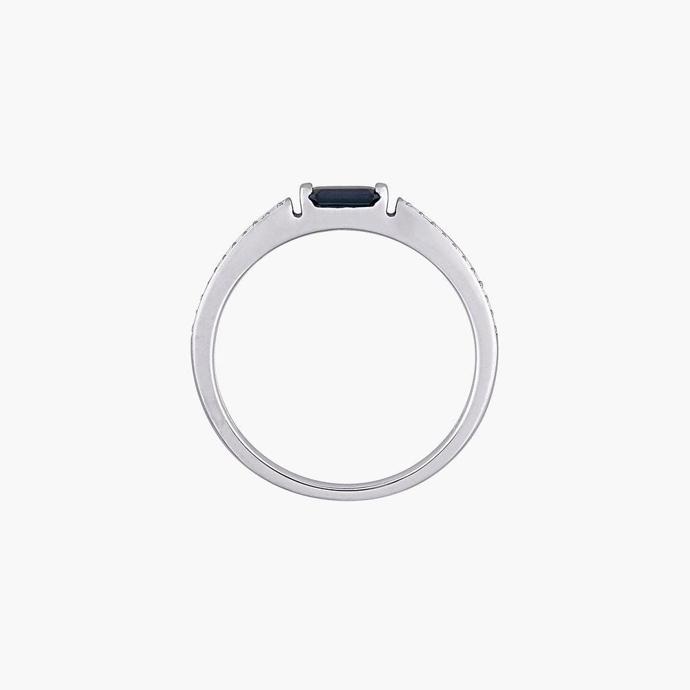 Diamond and Sapphire Ring - 10K White Gold - 1